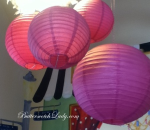 Lanterns helped to bring the color up to the ceiling and created a focal point for above the table.