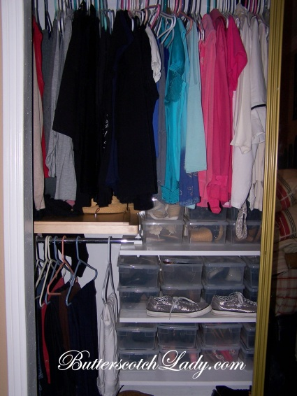 "{Before pic of my side of our ""quaint"" (teeny tiny!) master closet}"
