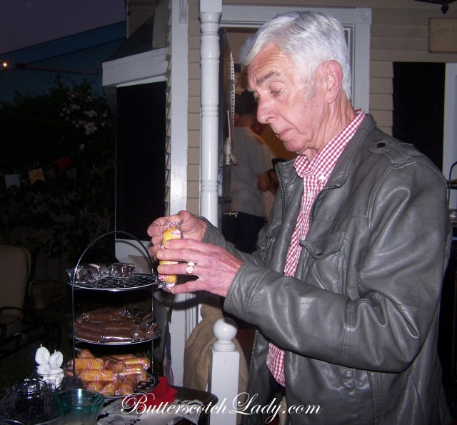 {Papa enjoying a Twinkie from the Sweets Bar}